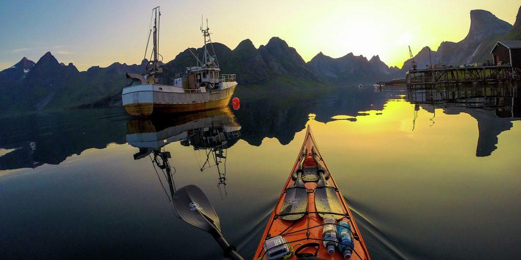 Caméra embarqué sur un kayak en norvège